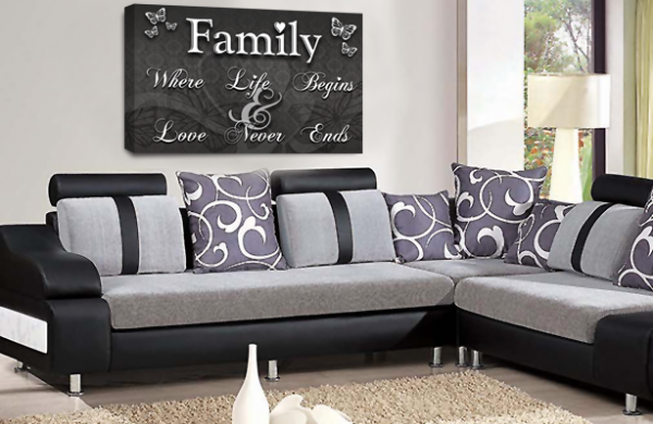 Family Quote Wall Art Picture Grey White Black Love Print